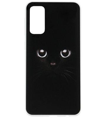 ADEL Siliconen Back Cover Softcase Hoesje voor Samsung Galaxy S20 - Katten Zwart