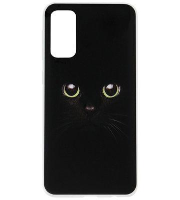 ADEL Siliconen Back Cover Softcase Hoesje voor Samsung Galaxy S20 - Katten Groene Ogen