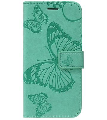 ADEL Kunstleren Book Case Portemonnee Pasjes Hoesje voor Samsung Galaxy S20 - Vlinder Groen