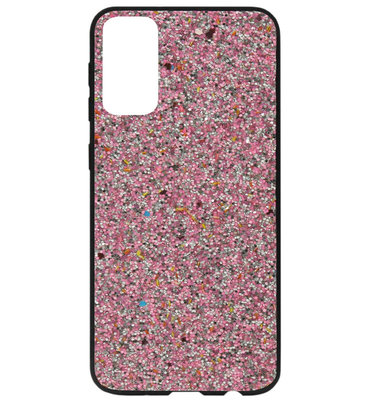 ADEL Kunststof Back Cover Hardcase Hoesje voor Samsung Galaxy S20 Plus - Bling Bling Glitter Roze