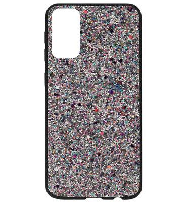 ADEL Kunststof Back Cover Hardcase Hoesje voor Samsung Galaxy S20 Plus - Bling Bling Glitter Zilver