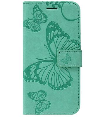 ADEL Kunstleren Book Case Portemonnee Pasjes Hoesje voor Samsung Galaxy S20 Plus - Vlinder Groen