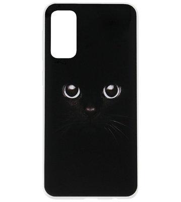 ADEL Siliconen Back Cover Softcase Hoesje voor Samsung Galaxy S20 Ultra - Katten Zwart