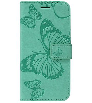ADEL Kunstleren Book Case Portemonnee Pasjes Hoesje voor Samsung Galaxy S20 Ultra - Vlinder Groen