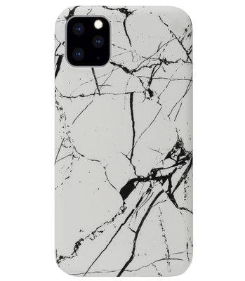 ADEL Kunststof Back Cover Hardcase Hoesje voor iPhone 11 - Marmer Wit
