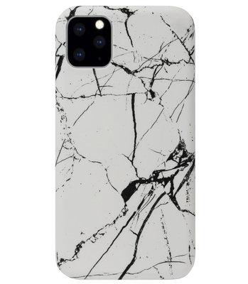 ADEL Kunststof Back Cover Hardcase Hoesje voor iPhone 11 Pro Max - Marmer Wit