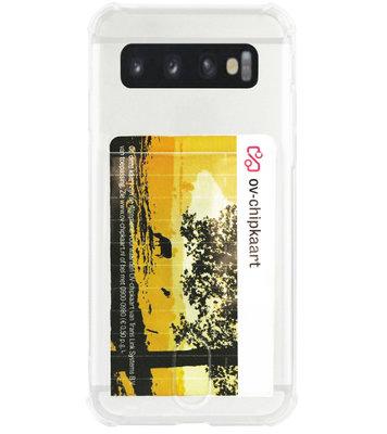 ADEL Siliconen Back Cover Softcase Hoesje voor Samsung Galaxy S10 - Pasjeshouder Doorzichtig