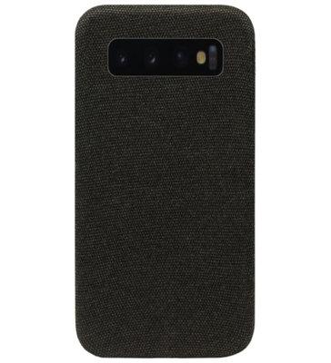 ADEL Kunststof Back Cover Hardcase Hoesje voor Samsung Galaxy S10 - Stoffen Design Zwart