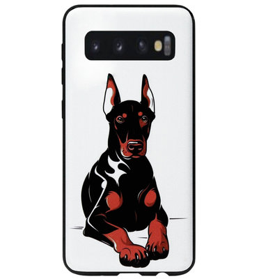 ADEL Siliconen Back Cover Softcase Hoesje voor Samsung Galaxy S10 - Dobermann Pinscher Hond