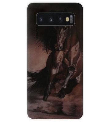 ADEL Siliconen Back Cover Softcase Hoesje voor Samsung Galaxy S10 - Paarden Zwart