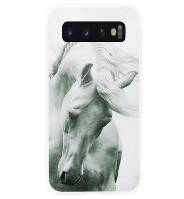 ADEL Siliconen Back Cover Softcase Hoesje voor Samsung Galaxy S10 - Paard Wit