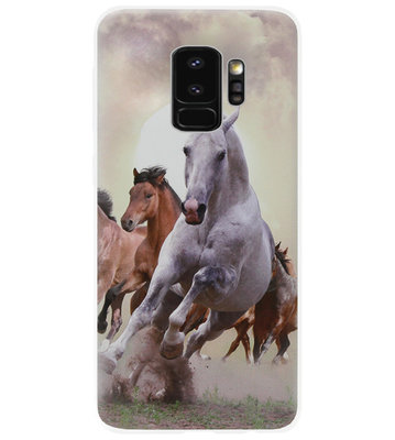 ADEL Siliconen Back Cover Softcase Hoesje voor Samsung Galaxy S9 - Paarden Wit Bruin
