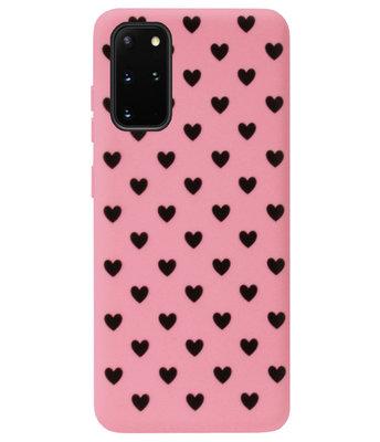 ADEL Siliconen Back Cover Softcase Hoesje voor Samsung Galaxy S20 - Hartjes Roze Zwart