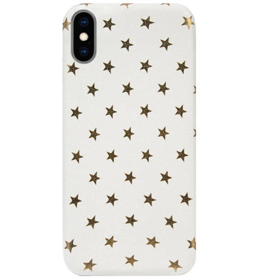 ADEL Siliconen Back Cover Softcase Hoesje voor iPhone XS/ X - Sterren Wit Bling Bling Glitter