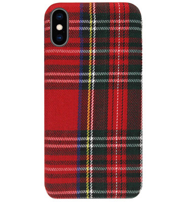 ADEL Siliconen Back Cover Softcase Hoesje voor iPhone XS/ X - Stoffen Design Traditioneel Rood