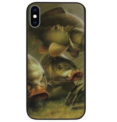 ADEL Siliconen Back Cover Softcase Hoesje voor iPhone XS/ X - Karper Vissen