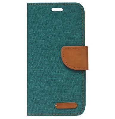 ADEL Kunstleren Book Case Portemonnee Pasjes Hoesje voor iPhone SE (2020)/ 8/ 7 - Stoffen Design Groen