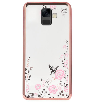 ADEL Siliconen Back Cover Softcase Hoesje voor Samsung Galaxy A6 Plus (2018) - Bling Glimmend Vlinder Bloemen Roze