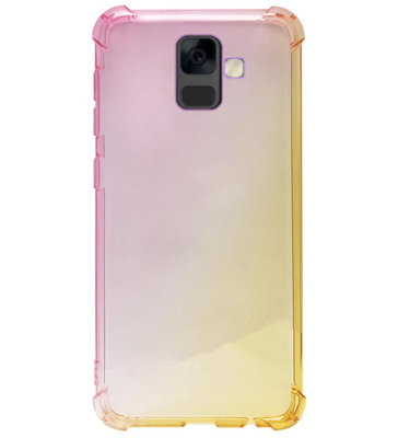 ADEL Siliconen Back Cover Softcase Hoesje voor Samsung Galaxy A6 Plus (2018) - Kleurovergang Geel Roze