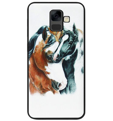 ADEL Siliconen Back Cover Softcase Hoesje voor Samsung Galaxy A6 Plus (2018) - Paarden Familie