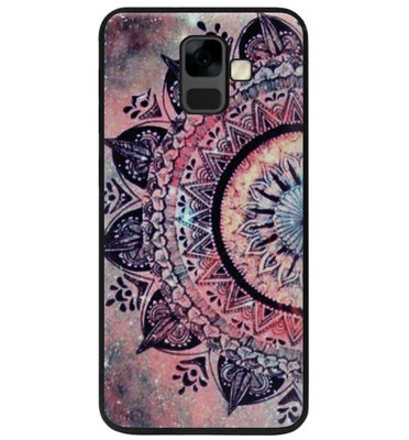ADEL Siliconen Back Cover Softcase Hoesje voor Samsung Galaxy A6 Plus (2018) - Mandala Bloemen Rood
