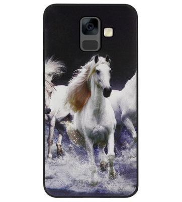 ADEL Siliconen Back Cover Softcase Hoesje voor Samsung Galaxy A6 Plus (2018) - Paarden Wit