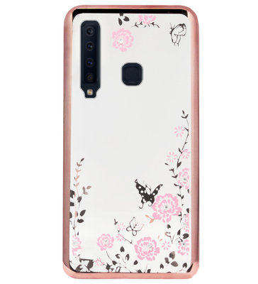 ADEL Siliconen Back Cover Softcase Hoesje voor Samsung Galaxy A9 (2018) - Bling Glimmend Vlinder Bloemen Roze