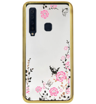 ADEL Siliconen Back Cover Softcase Hoesje voor Samsung Galaxy A9 (2018) - Bling Glimmend Vlinder Bloemen Goud