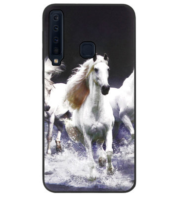 ADEL Siliconen Back Cover Softcase Hoesje voor Samsung Galaxy A9 (2018) - Paarden Wit
