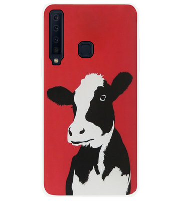 ADEL Siliconen Back Cover Softcase Hoesje voor Samsung Galaxy A9 (2018) - Koeien Rood