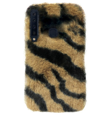 ADEL Siliconen Back Cover Softcase Hoesje voor Samsung Galaxy A9 (2018) - Luipaard Pluche Fluffy Zachte Stof