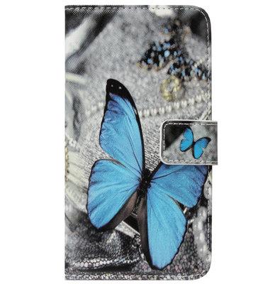 ADEL Kunstleren Book Case Portemonnee Pasjes Hoesje voor Samsung Galaxy A9 (2018) - Vlinder