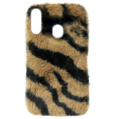 ADEL Siliconen Back Cover Softcase Hoesje voor Samsung Galaxy A40 - Luipaard Fluffy Zachte Stof Pluche
