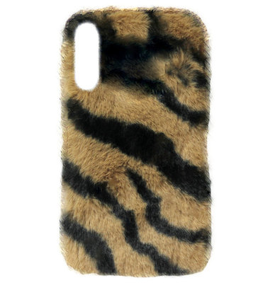 ADEL Siliconen Back Cover Softcase Hoesje voor Samsung Galaxy A50(s)/ A30s - Luipaard Fluffy Zachte Stof Pluche