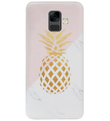 ADEL Siliconen Back Cover Softcase Hoesje voor Samsung Galaxy A6 Plus (2018) - Ananas Goud