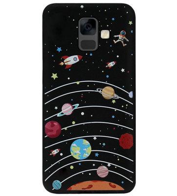 ADEL Siliconen Back Cover Softcase Hoesje voor Samsung Galaxy A6 Plus (2018) - Heelal Ruimte Universum