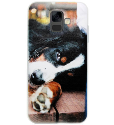 ADEL Siliconen Back Cover Softcase Hoesje voor Samsung Galaxy A6 Plus (2018) - Berner Sennenhond