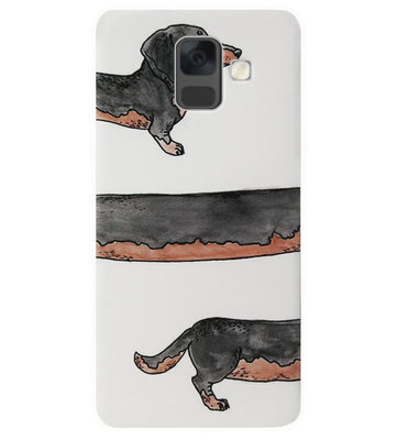 ADEL Siliconen Back Cover Softcase Hoesje voor Samsung Galaxy A6 Plus (2018) - Teckel Hond