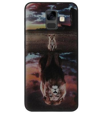ADEL Siliconen Back Cover Softcase Hoesje voor Samsung Galaxy A6 Plus (2018) - Leeuwen Schaduw Welpen