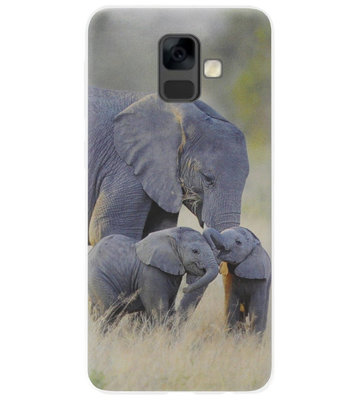 ADEL Siliconen Back Cover Softcase Hoesje voor Samsung Galaxy A6 Plus (2018) - Olifant Familie
