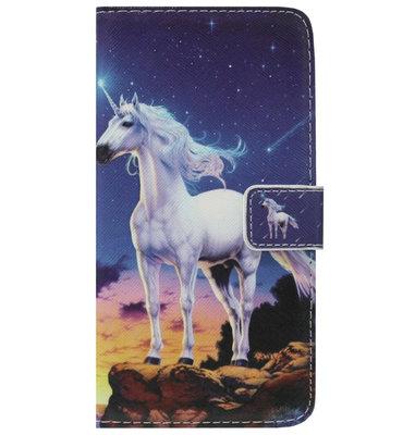 ADEL Kunstleren Book Case Portemonnee Pasjes Hoesje voor Samsung Galaxy A6 Plus (2018) - Paard Eenhoorn Wit
