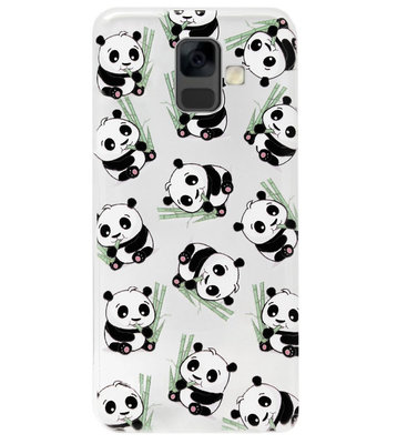 ADEL Siliconen Back Cover Softcase Hoesje voor Samsung Galaxy A6 Plus (2018) - Panda's