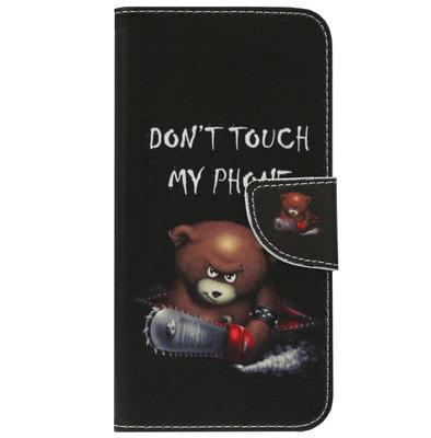 ADEL Kunstleren Book Case Portemonnee Pasjes Hoesje voor iPhone SE (2020)/ 8/ 7 - Don't Touch My Phone Beren