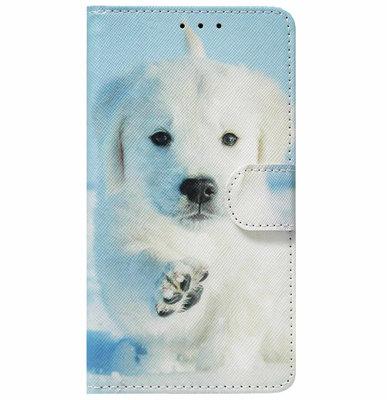 ADEL Kunstleren Book Case Portemonnee Pasjes Hoesje voor iPhone SE (2020)/ 8/ 7 - Hond Wit