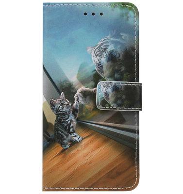 ADEL Kunstleren Book Case Portemonnee Pasjes Hoesje voor iPhone SE (2020)/ 8/ 7 - Poezen Tijger