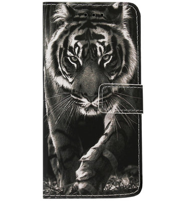 ADEL Kunstleren Book Case Portemonnee Pasjes Hoesje voor iPhone SE (2020)/ 8/ 7 - Tijger Zwart