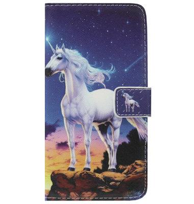 ADEL Kunstleren Book Case Portemonnee Pasjes Hoesje voor iPhone SE (2020)/ 8/ 7 - Paard Eenhoorn Wit