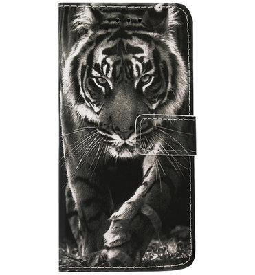 ADEL Kunstleren Book Case Portemonnee Pasjes Hoesje voor iPhone XS/ X - Tijger Zwart