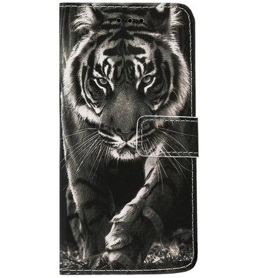ADEL Kunstleren Book Case Portemonnee Pasjes Hoesje voor iPhone 11 Pro Max - Tijger Zwart