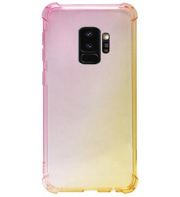 ADEL Siliconen Back Cover Softcase Hoesje voor Samsung Galaxy S9 - Kleurovergang Roze Geel